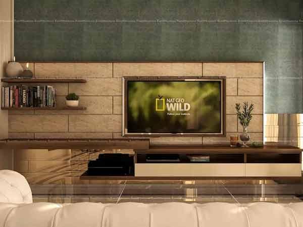 نمایشگری با قالبی قهوه ای رنگ به صورت برجسته به دیوار نصب شده است و میز تلویزیون دیواری با ترکیب رنگ های قهوه ای روشن و تیره می باشد که به صورت قفسه بندی مجزا از هم نیز تشکیل شده است که روی آن ها دو عدد شمع و کتاب و یک گلدان سفید و چندین کتاب می باشد.