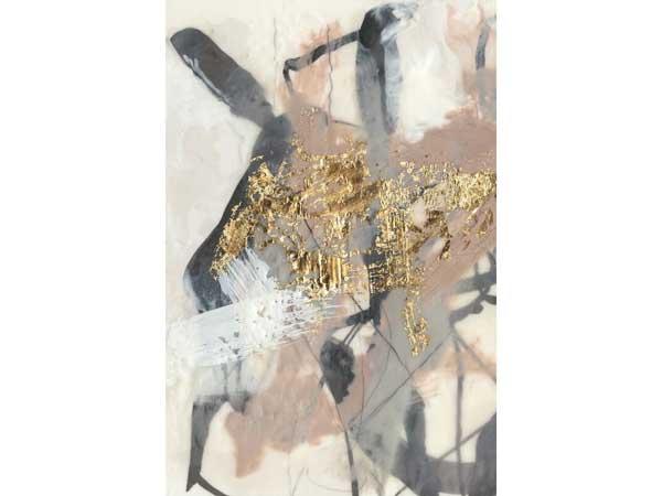 تابلو هنری با ترکیب رنگ های مختلفی مانند طلایی و کرم و قهوه ای و مشکی به صورت درهم نقاشی شده است که در زمینه ای سفید از عکس موجود می باشد