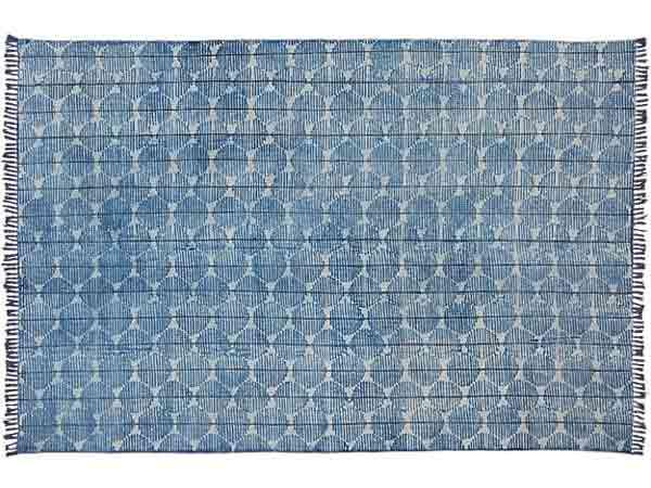 فرش ابی رنگی با طرحی از لوزی هایی که داخل آن ها به صورت دایره دایره ای می باشد در زمینه ای سفید از عکس قرار گرفته است