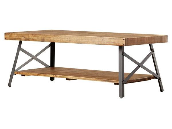 میز جلو مبلی چوبی همراه با پایه های فلزی می باشد که رنگ چوب آن قهوه ای روشن می باشد و میز به صورت دو طبقه ای است.