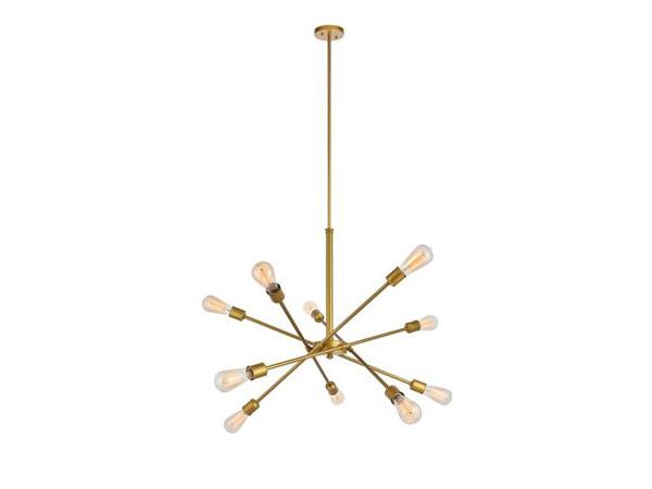 لوستر طلایی رنگ به صورت چند شاخه ای می باشد که تعدادی لامپ به آن متصل شده است و در زمینه ای سفید از تصویر قرار گرفته است