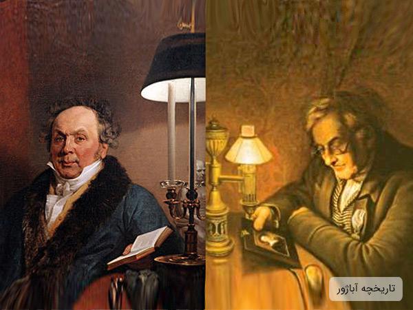 تصویر دو عدد آباژور در کنار دو دانشمند در چند صده اخیر که تاریخچه کهن استفاده از آباژور را تصدیق می کند. آبازورها قدمت بسیار زیادی دارند.