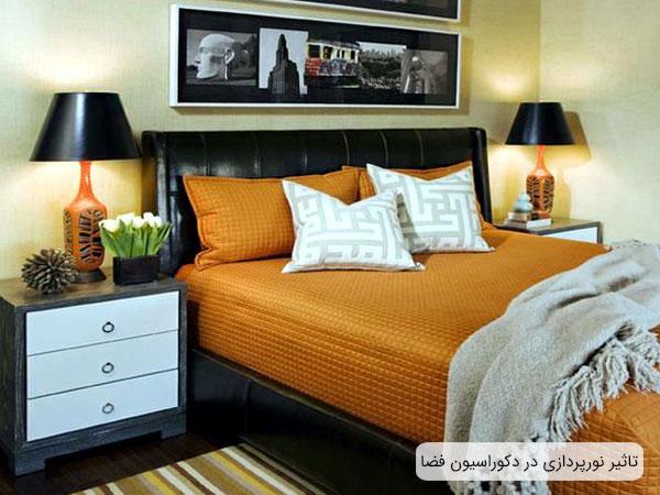 تصویر دو عدد آباژور در اتاق خواب قابل مشاهده می باشد . چیدمان تخت و فضای دکوراسیون داخلی تحت تاثیر حضور این آباژور ها می باشد.