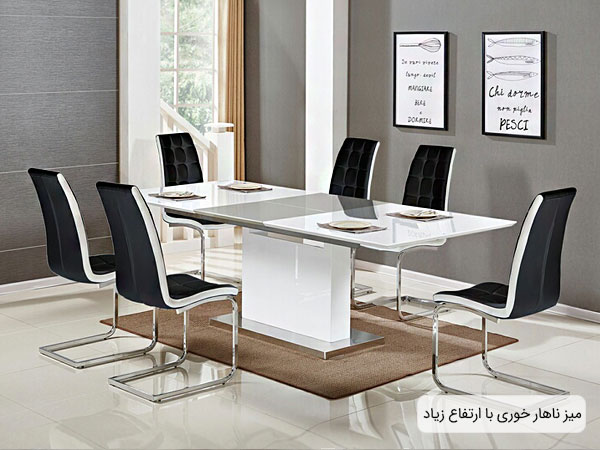 میز ناهار خوری با ارتفاع زیاد در فضای داخلی خانه