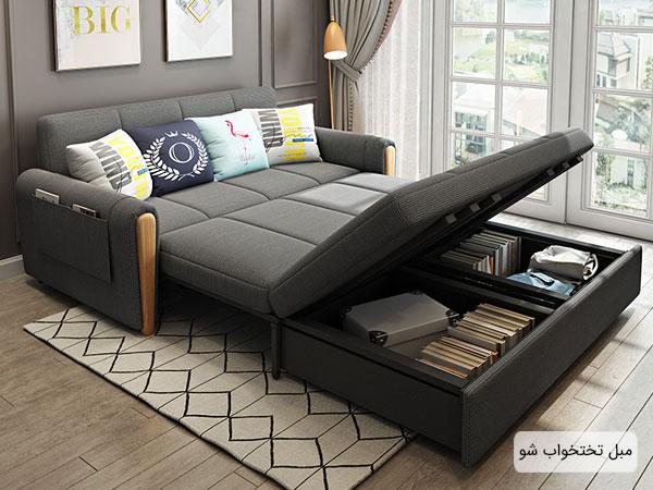 تصویری از یک مبل راحتی تخت شو در فضای چیدمان اتاق خواب
