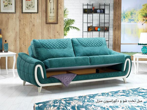 تصویری از یک مبل تخت خواب شو سبز رنگ در فضای دکوراسیون داخلی منزل