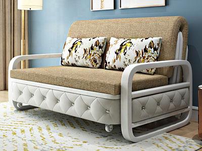 تصویری از یک مبل تخت شو کاناپه تخت خواب شو در رنگ بژ در فضای داخلی دکوراسیون منزل