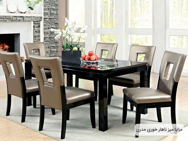 تصویری از یک میز ناهارخوری مدن و مزایای که می تواند در طراحی دکوراسیون داخلی منزل داشته باشد.