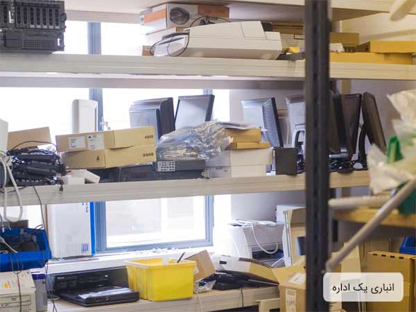 انباري يک اداره که به سبک سنتي طراحي شده و داراي چندين قفسه مي باشد که وسايل بر روي اين قفسه ها چيده شده اند