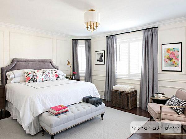 طراحی دکوراسیون اتاق خواب با استفاده از اجزای منطبق با هم