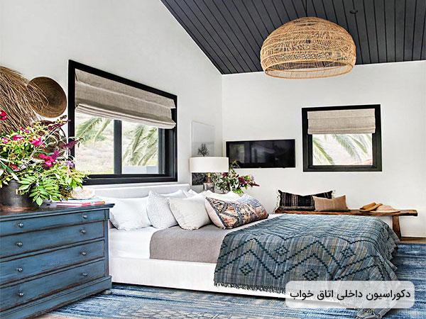 دکوراسیون فضای داخلی اتاق خواب در تصویر نمایان است