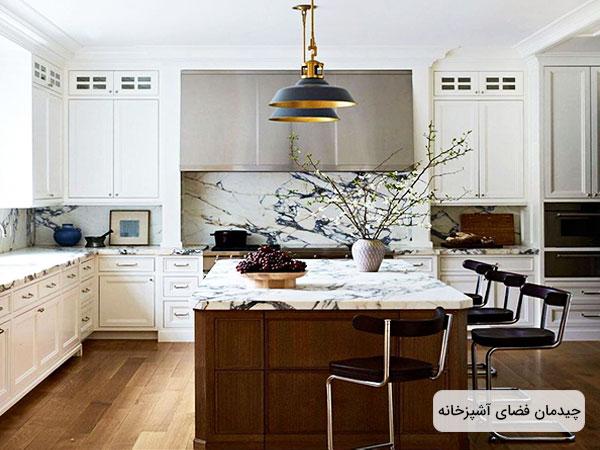 دکوراسیون فضای داخلی آشپزخانه در تصویر مشهود است