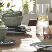 اجزای آشپزخانه مانند ظروف چوبی و کابینت ، صندلی اوپن ، میز بار