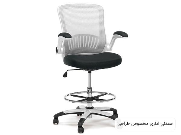 صندلي ميز طراحي با رنگ مشکي و سفيد در پس زمينه سفيد مناسب براي دفتر کار