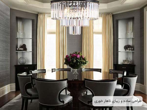 اتاق ناهار خوري مدرن با ميز ناهار خوري، صندلي ميز ناهار خوري، فرش و ديوار هايي به رنگ طوسي مي باشد.علاوه بر اين در اين اتاق از پرده ، لوستر، دراور و ساير لوازم تزئيني استفاده شده است