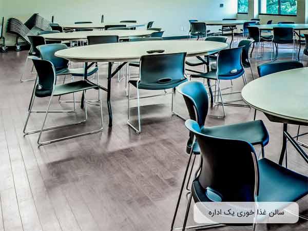 سالن نهار خوري يک شرکت با ديوار هايي به رنگ ليمويي و مجهز به چندين ميز ليمويي رنگ به همراه چند صندلي سبز رنگ