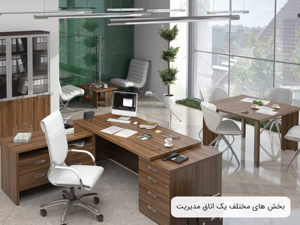 فضا هاي موجود در يک اتاق اداري مخصوص مديريت که شامل بخش استراحت، قسمت ديدار ها و جلسات و محيط کار مي باشد و هر يک از اين سه بخش مبلمان مناسب خود را دارند . ميز ها بهرنگ قهوه اي روشن و صندلي ها به رنگ سفيد مي باشند
