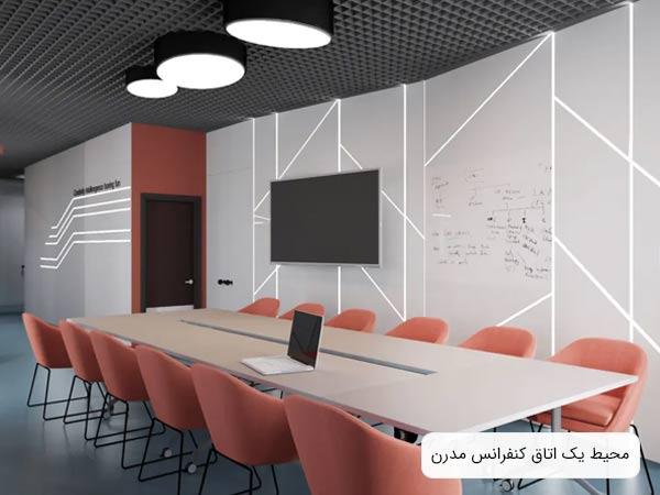 محل برگزاري جلسات اداري که داراي ميز و صندلي کنفرانس، صفحه نمايش و وايت برد مي باشد
