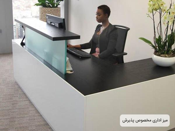 ميز پذيرش در يک محيط اداري که کارمندي پشت ميز نشسته است بر روي ميز وسايي مانند گلدان، لپ تاپ و ... قرار گرفته