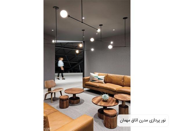 سيستم روشنايي سالن انتظار يک اداره که داراي چندين لامپ حبابي مي باشد که بر روي سقف اتاق نصب گشته اند و کل محيط را پوشش مي دهند
