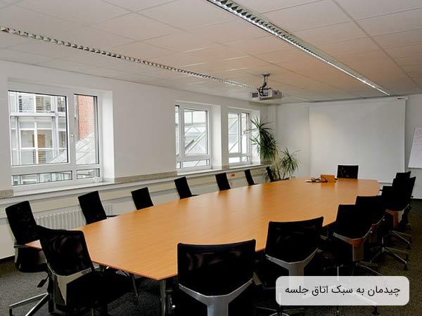 سالن جلسات يک اداره که شامل يک ميز بزرگ کنفرانس به رنگ بژ روشن و چند صندلي کنفرانس مشکي رنگ مي باشد که دور ميز چيده شده اند