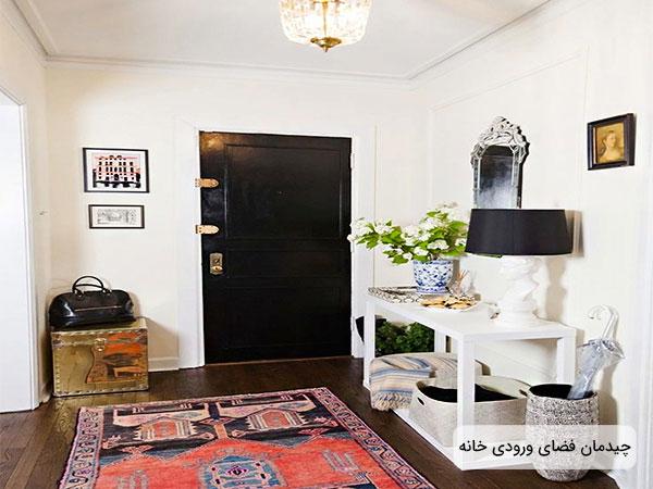 طراحی دکوراسیون فضای ورودی منزل شامل در ورودی و راهرو