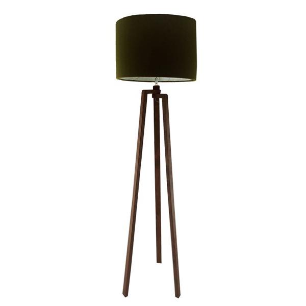 آباژور سه پايه ای 16 با کلاهکی به رنگ سبز يشمی و پايه های چوبی در پس زمينه سفيد.