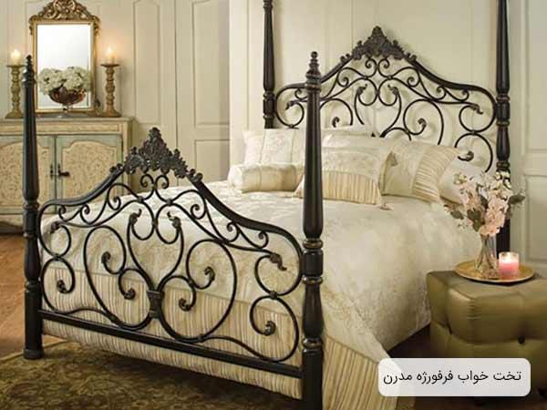 تصويری از يک تخت خواب مدرن فلزی مدل فرورژه که بدنه اين تخت به رنگ قهوه ای سوخته می باشد و در کنارش يک عدد پاف قرار گرفته است.