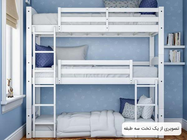 تصويری از يک تخت سه طبقه پسرانه که رنگ بدنه آن سفيد می باشد و رنگ تشک های آن خاکستری روشن هستند و اين تخت خواب سه طبقه در در اتاق خوابی با ديوار آبی رنگ قرار گرفته است.