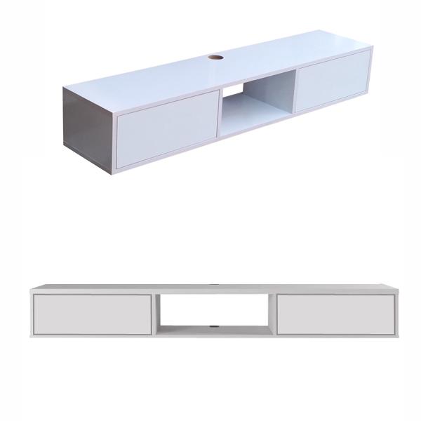 ميز تلويزيون ديواری ساده و شيک با طراحی مدرن از دو زاويه مختلف در پس زمينه سفيد