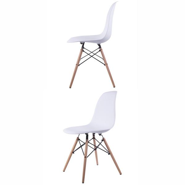 تصويری از صندلی ناهارخوری کم جا و سفيد 005 از دو زاويه مختلف در پس زمينه سفيد.