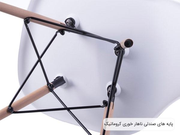 تصويری از پيچ و اتصالات پايه های صندلی ناهار خوری کروماتيک .