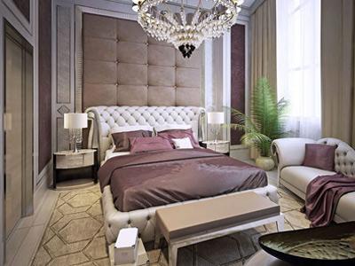 تصويری از يک تخت خواب ذو نفره با طراحی چستر و رنگ بدنه سفيد و پتو هايی به رنگ جيگری در اتاقي با طراحی مدرن.