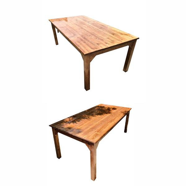 ميز ناهار خوری چوبی جديد با طراحی کلاسيک از دو زاويه متفاوت در پس زمينه سفيد