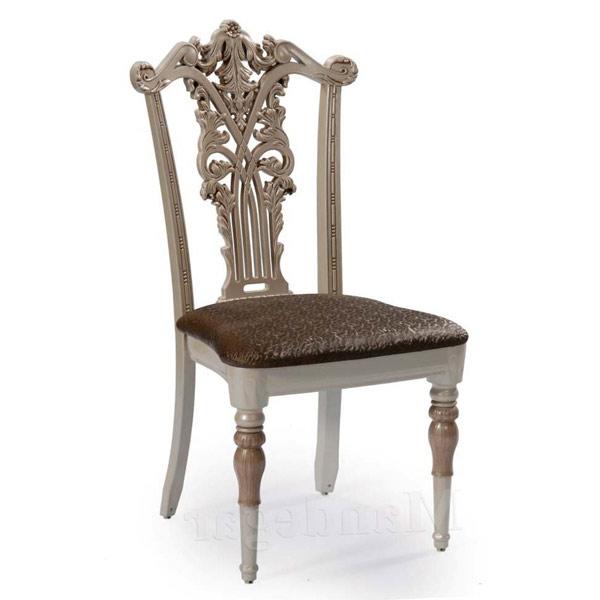 صندلی ناهارخوری شيک و با کلاس مدل سلطنتی از جنس ام دی اف به رنگ قهوه ای و مسی و صدفی در پس زمينه سفيد.