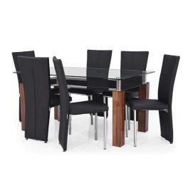 تصويری از ميز ناهار خوری مدرن و شيک روساريو به همراه شيش عدد صندلی ناهار خوری به رنگ مشکی در پس زمينه سفيد