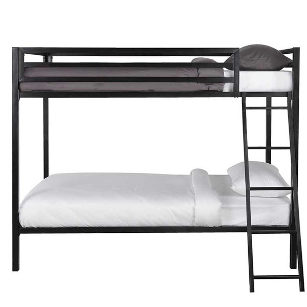 تصويري از تخت خواب دو طبقه و شيک دورما به رنگ قهوه ای سوخته در پس زمينه سفيد.