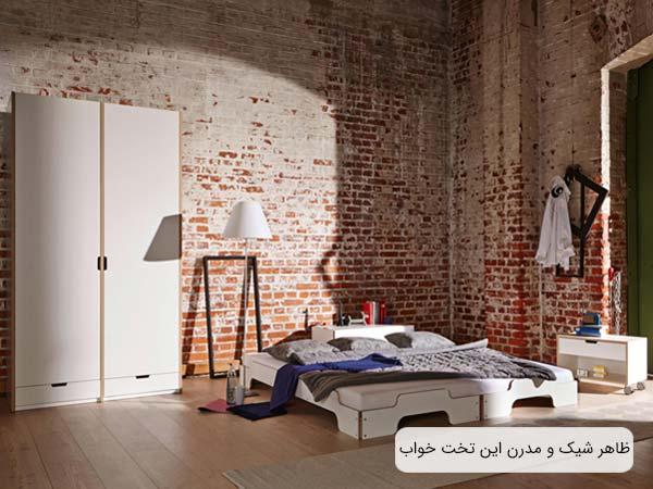 تصويری از تخت خواب سفيد رنگ ديپون در اتاقی با طراحی مدرن و يک عدد کمد و پاتختی که به صورت ست مي باشند.