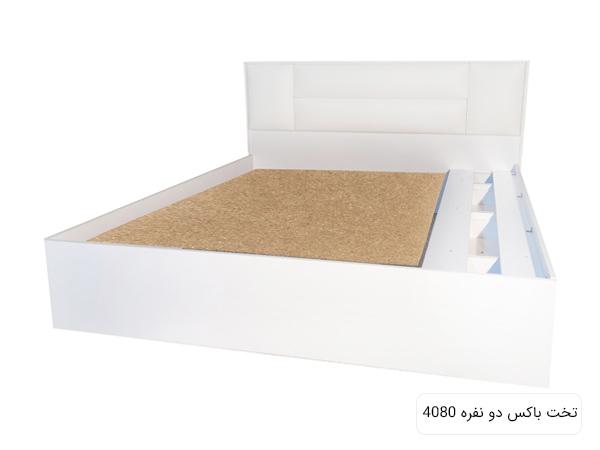 تخت خواب مدرن و سفيد رنگ مدل 4080 در پس زمينه سفيد.