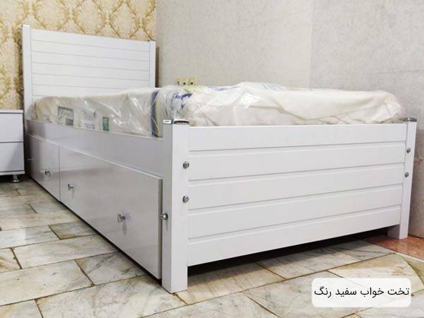 تصويری از تخت خواب يکنفره مدرن سنو 1 به رنگ سفيد