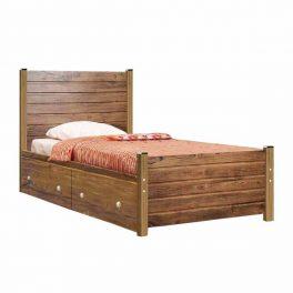 تصويری از تخت خواب seno 1 با فريم قهوه ای رنگ و خوشخواب سفيد در پس زمينه سفيد.