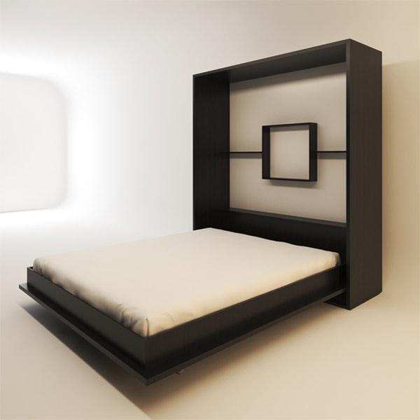 تصويري از تخت خواب تاشو Fh در حالت باز شده با رنگ قهوه اي سوخته و خوشخواب سفيد رنگ