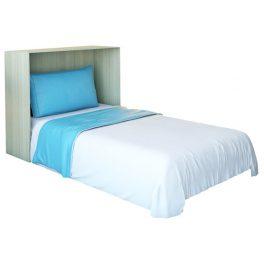 تخت خواب يک نفره ta450 با غالب سفيد رنگ و خوشخواب سفيد و آبي.