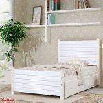 تصويری از تخت خواب يک نفره سنو 1 به رنگ سفيد در اتاق خوابی با طراحی مدرن و شيک.