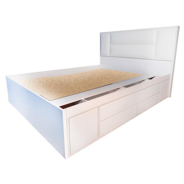تصويری از باکس تخت خواب دو نفره 4080 بدون تشک و خوشخواب در پس زمينه سفيد.