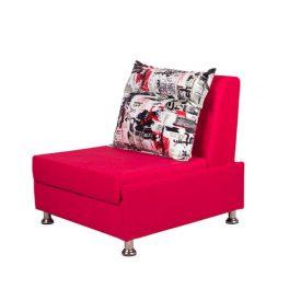 صندلی تختخواب شو کارن با روکش به رنگ سرخابي و چهار پايه ی فلزی در پس زمينه سفيد.