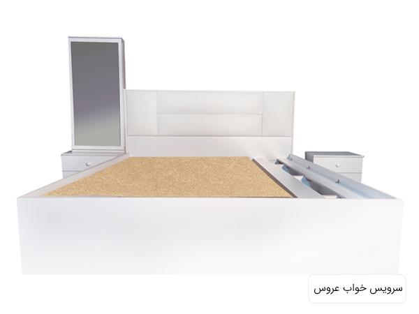 تصويری از سرويس خواب مدل 4080 که شامل يک تخت خواب دو نفره ، ميز کنار تختی يا پاتختی سفيد رنگ و آينه قدی می باشد.